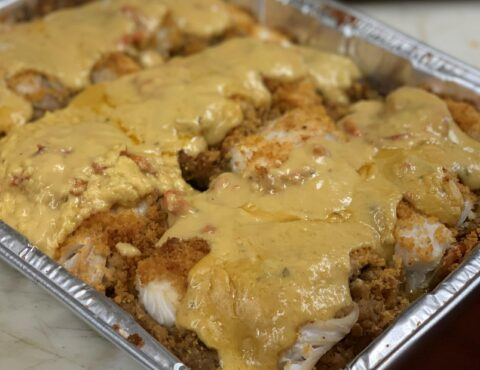 STUFFED HADDOCK WITH LOBSTER SAUCE PARTY TRAY
