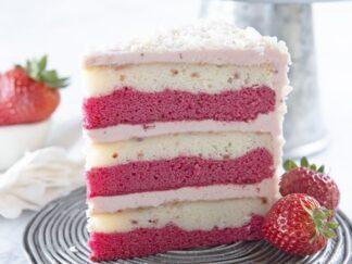 3 Layer Strawberry and vanilla layered cake with Greek Yogurt frosting